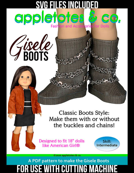 Gisele Boots 18 Inch Doll Sewing Pattern - SVG Files Included