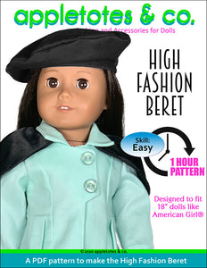 High Fashion Beret 18 Inch Doll Sewing Pattern