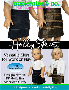 Holly Skirt Sewing Pattern for 18 Inch Dolls