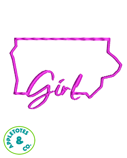 "Iowa Girl Machine Embroidery File for 18"" Dolls"