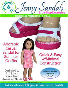 Jenny Sandals ITH Embroidery Pattern for 18 Inch Dolls