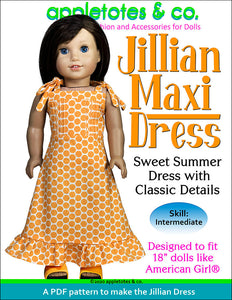 "Jillian Maxi Dress Sewing Pattern for 18"" Dolls"