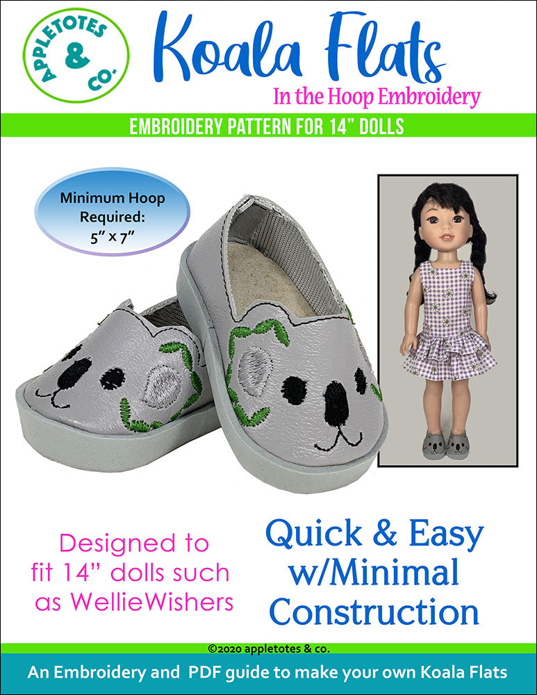 Koala Flats ITH Embroidery Patterns for 14 Inch Dolls