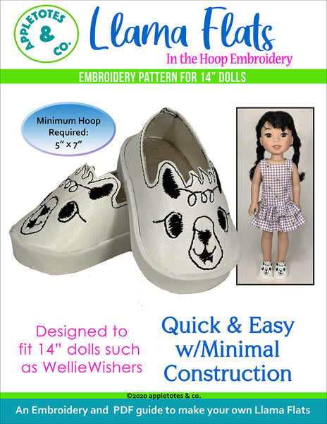 Llama Flats ITH Embroidery Patterns for 14 Inch Dolls