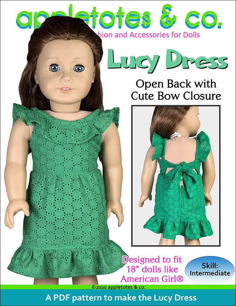 Lucy Dress Sewing Pattern for 18 Inch Dolls