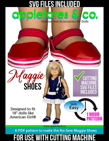 No-Sew Maggie Shoes 18 Inch Doll Pattern - SVG Files Included