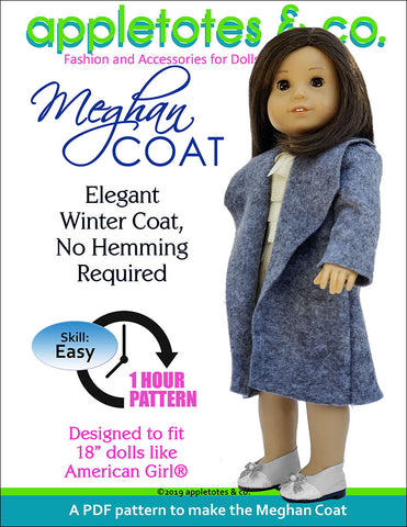Meghan Coat Sewing Pattern for 18 Inch Dolls