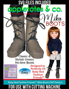 Mika Boots Ruby Red Fashion Friends™ Pattern - SVG Files Included