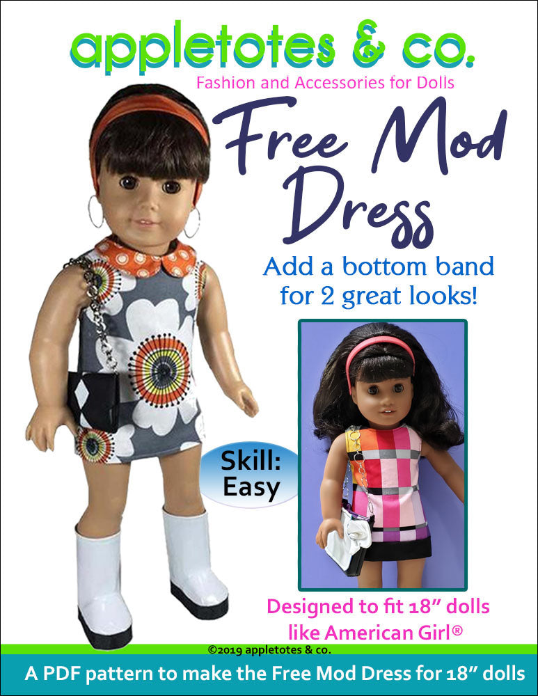 "Free Mod Dress Sewing Pattern for 18"" Dolls"