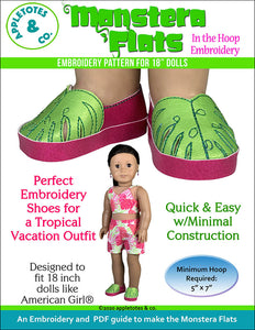 Monstera Flats ITH Embroidery Patterns for 18 Inch Dolls