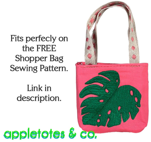 Monstera Leaf Machine Embroidery File for 18 Inch Dolls