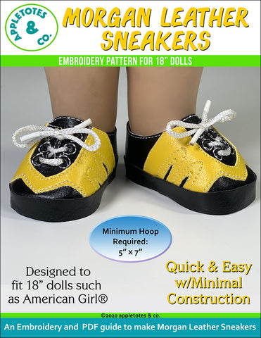 Morgan Leather Sneakers ITH Embroidery Pattern for 18 Inch Dolls