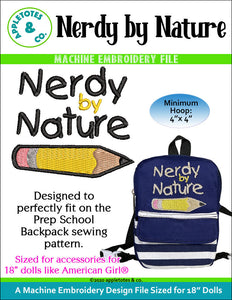 Nerdy by Nature Machine Embroidery File for 18 Inch Dolls