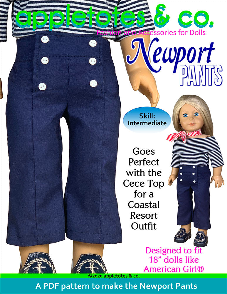 Newport Pants Sewing Pattern for 18 Inch Dolls