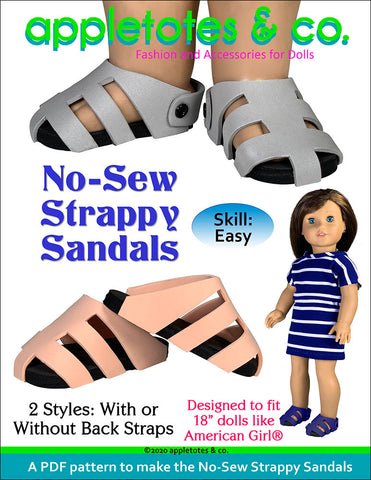 No-Sew Strappy Sandals Sewing Pattern for 18 Inch Dolls