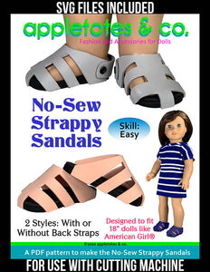 No-Sew Strappy Sandals Sewing Pattern for 18 Inch Dolls - SVG Files Included