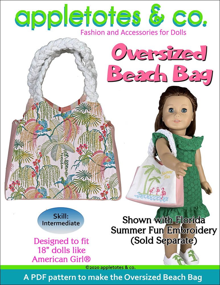 Oversized Beach Bag Sewing Pattern for 18 Inch Dolls