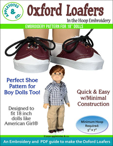 Oxford Loafers ITH Embroidery Pattern for 18 Inch Dolls