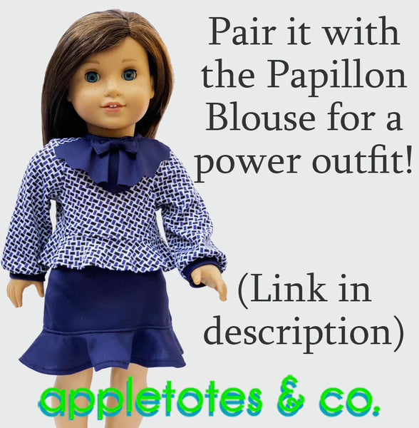 Peplum Skirt Sewing Pattern for 18 Inch Dolls
