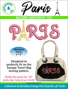 Paris Machine Embroidery File for 18 Inch Dolls