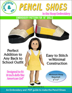 Pencil Shoes ITH Embroidery Patterns for 18 Inch Dolls