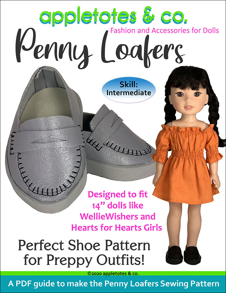 Penny Loafers Sewing Pattern for 14 Inch Dolls