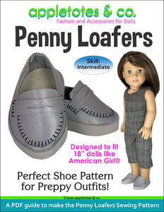 Penny Loafers Sewing Pattern for 18 Inch Dolls