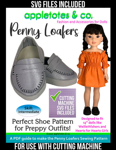 Penny Loafers 14 Inch Doll Sewing Pattern - SVG Files Included