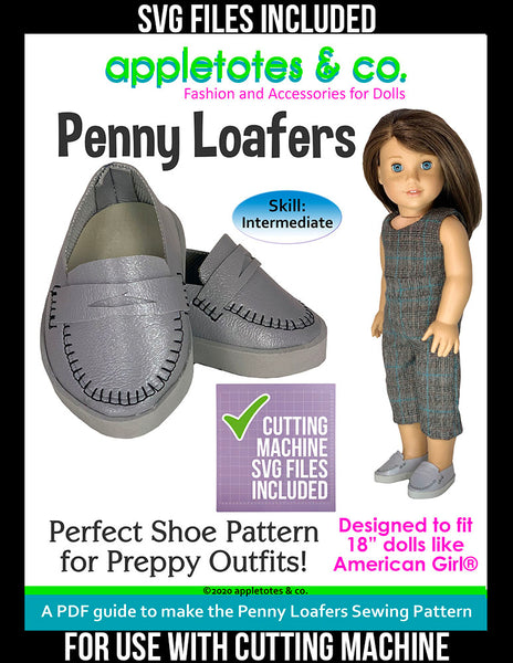 Penny Loafers 18 Inch Doll Sewing Pattern - SVG Files Included