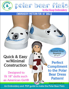Polar Bear Flats ITH 18 Inch Doll Embroidery Pattern