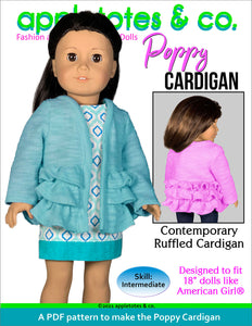 Poppy Cardigan 18 Inch Doll Sewing Pattern