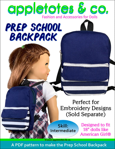 Prep School Backpack Sewing Pattern for 18 Inch Dolls