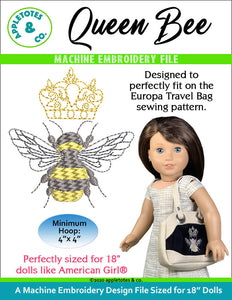 Queen Bee Machine Embroidery File for 18 Inch Dolls