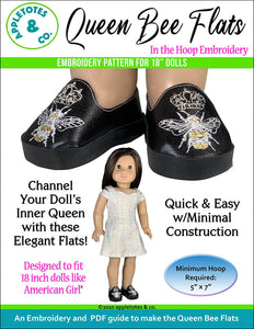 Queen Bee Flats ITH Embroidery Patterns for 18 Inch Dolls