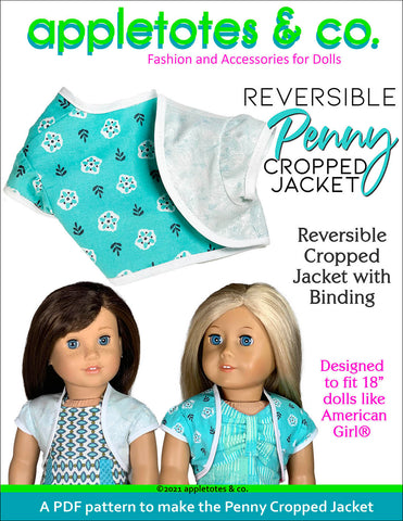Reversible Penny Cropped Jacket 18 Inch Doll Sewing Pattern