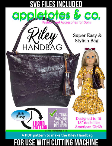 Riley Handbag 18 Inch Doll Pattern - SVG Files Included