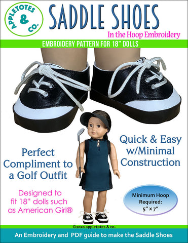 Saddle Shoes ITH Embroidery Pattern for 18 Inch Dolls