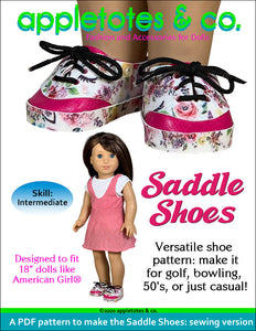 Saddle Shoes Sewing Pattern for 18 Inch Dolls