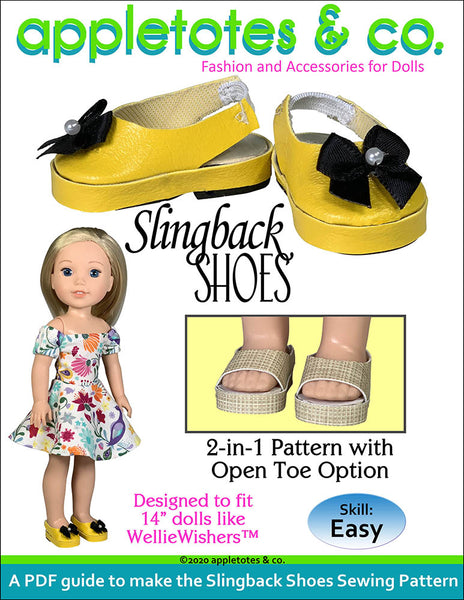 Slingback Shoes Sewing Pattern for 14 Inch Dolls