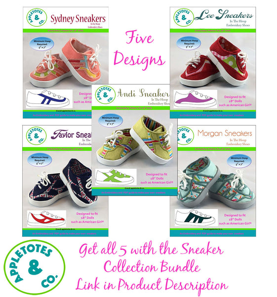"Taylor Sneakers ITH Embroidery Pattern for 14.5"" Dolls"