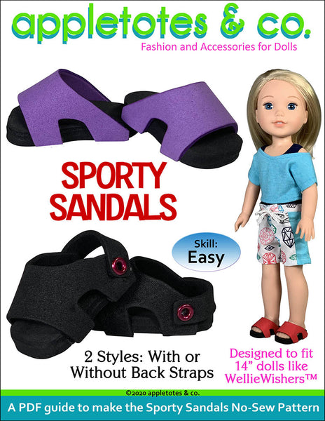 Sporty Sandals No Sew Pattern for 14 Inch Dolls