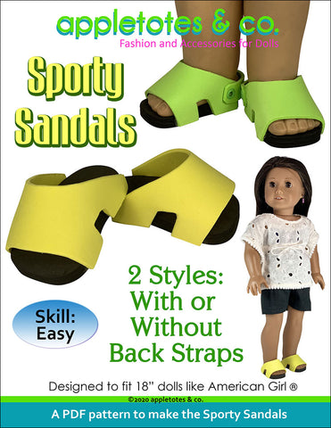 Sporty Sandals Sewing Pattern for 18 Inch Dolls
