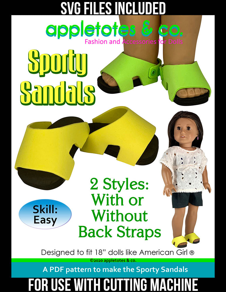 Sporty Sandals No-Sew Pattern for 18 Inch Dolls - SVG Files Included