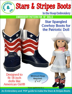 Stars and Stripes Cowboy Boots ITH Embroidery Pattern for 18 Inch Dolls