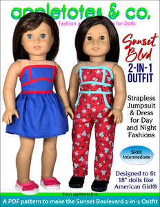 Sunset Boulevard Outfit 18 Inch Doll Sewing Pattern