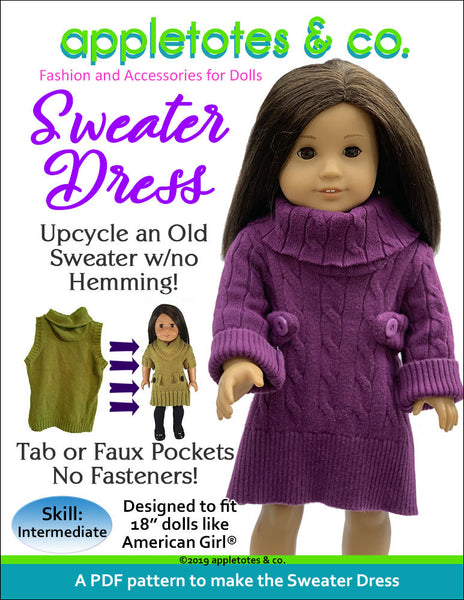 "November Special: Half Off Sweater Dress Sewing Pattern for 18"" Dolls"