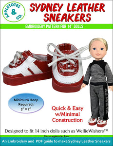 Sydney Leather Sneakers ITH Embroidery Pattern for 14 Inch Dolls
