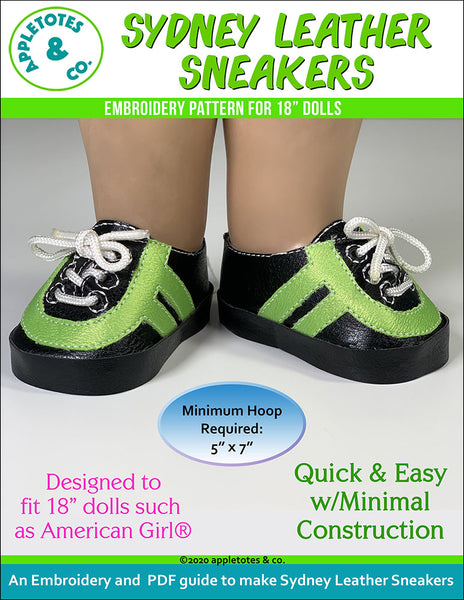 Leather Sneaker Collection (5 Pieces)  ITH Embroidery Patterns for 18 Inch Dolls