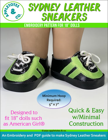 Sydney Leather Sneakers ITH Embroidery Pattern for 18 Inch Dolls