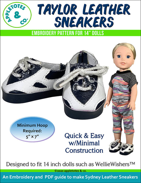 Leather Sneaker Collection (5 Pieces) ITH Embroidery Patterns for 14 Inch Dolls